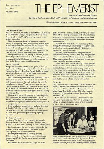 The Ephemerist - first issue 1975