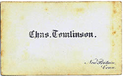 Illustration - carte  back of Charles Tomlinson, of New Britain, Connecticut